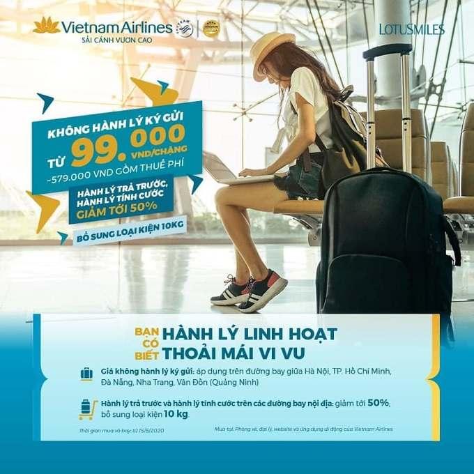 Từ 15/05/2020, Vietnam Airlines triển khai mức giá không hành lý ký gửi trên nhiều đường bay nội địa