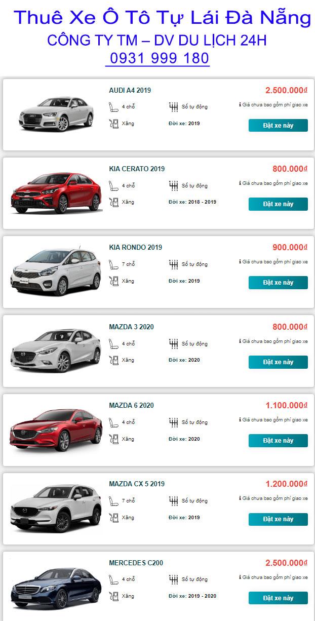 bảng giá cho thuê xe tự lái đà nẵng